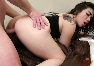Brunette hair oriental Angelina Mylee with tiny boobs and bald muff gets her many times used mouth fucked again by horny man