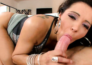 Francesca Le with gigantic tits satisfies her raunchy desires with dudes love torpedo in her mouth
