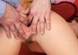 Wicked russian slut Olga Barz gets unshaved cunt stretched
