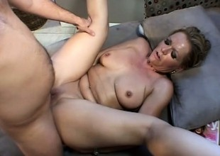 Cheating golden-haired housewife gets it on with a lucky well hung man