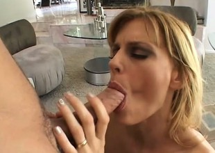 Slutty blonde mom entertains her son's friend with a quickie