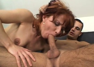 Bushy cunt Milf slurps on his rod and then gets the fuck of her life