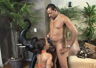 Large breasted caramel hotty takes a massive black dick in her anal hole