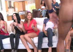 Muscular stripper gets blowjobs from the bachelorette party sluts