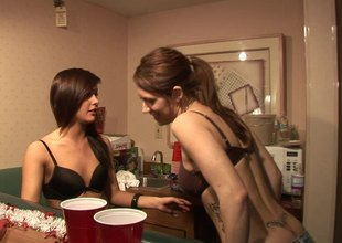 Brilliant lesbian with priceless ass in thong getting drunk with her babes in bungler shoot