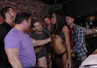 Skinny lowering slut in the bar gangbanged by white guys