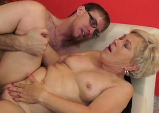 Playful superannuated with tiny boobs Ursula Grande fucks a stud