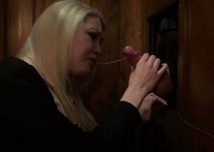 Charming blond gal Tamara Grace sucks hard dick in the confessional