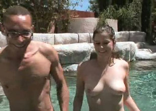 Breasty white chick Kendra Kay gives head in the pool