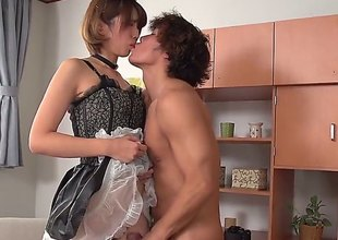 Shagging a fuckable Japanese maid in nylons with a shaved twat during the time that that babe gets some work done around the abode is going to be helluva fun, especially when your wifes not home