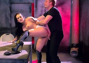 Katrina Jade is a real bad girl with black become angry and hot tattoos wearing black boots and a chain around her neck. And she just likes coarse sex while drilled in her cunt.