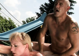 Golden-haired with giant hooters gets humped hard and unfathomable by horny guy