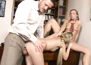 With phat a-hole and trimmed snatch gets a fuck with hard cocked dude