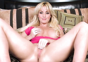 Lovely tart Angela Sommers with massive hooters and clean beaver has fun with toy