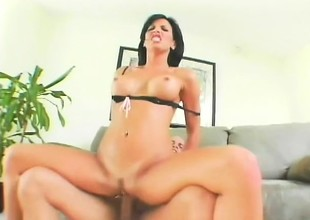 Baldy has a huge piece of meat that keeps this breasty MILF entertained for hours