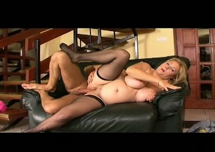 Plumper old fair-haired whore wants more and takes it in her chunky ass