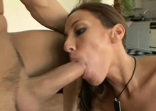 Skinny brunette hair milf Adriana gets her pussy banged in various poses