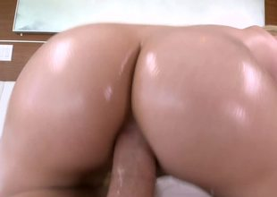 A golden-haired is filmed as she is getting some hardcore arse stab