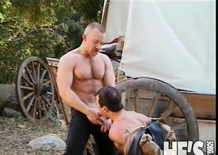 It's been a lengthy day at the Dude Ranch and these two Cowboys are ready to take shed weight time off. Fortunately, what they actually end up doing is taking shed weight time on...each others big cocks! Watch as these Cowboys fuck and engulf their way to two creamy