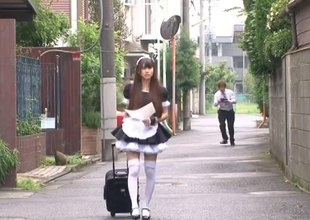 Naughty Japanese maid cleans men's hard pipes as if a pro