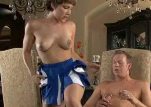 Pretty short haired cutie Katie St leans over the chair to be fucked