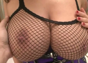 Busty sexpot in black lingerie is awaiting for your strong cock only!