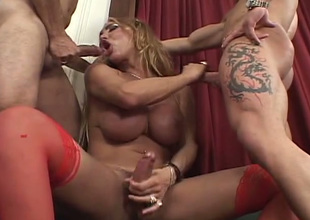 Strong blond haired busty tgirl sucks two delicious lollicocks for semen