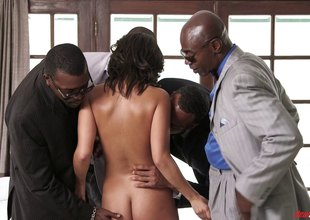 White hotty getting used up by three black guys at one time
