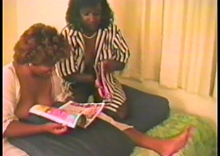 Ebony babes have a fun put to rout each other in advance of being nailed in a FFM clip