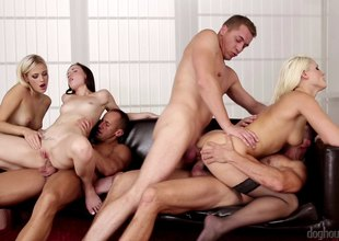 Hotties fill the room with hardcore fucking in a fantastic fuckfest