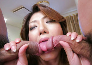Reina Nishio perky tits belle dealing two weenies on cam