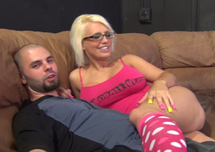 Mega busty golden-haired battle-axe in glasses Jacky Joy shows her pussy