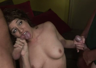 Bella Fangs in oral play with bisexual dudes Frank Towers and Cameron Sage