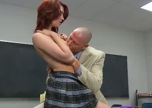 Skanky redhead student gives hot blowjob to kinky teacher