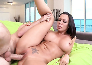 Rachel Starr with big butt and shaved pussy enjoys fresh hot jism sticky nectar all over her face