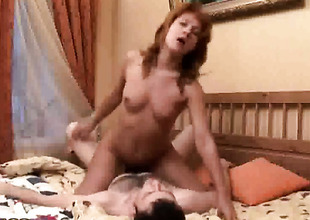 Glamorous cutie lets guy put his rod in her mouth