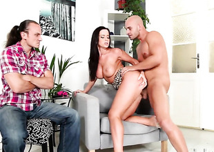 Cindy Dollar lets guy audition his thick pole in her mouth