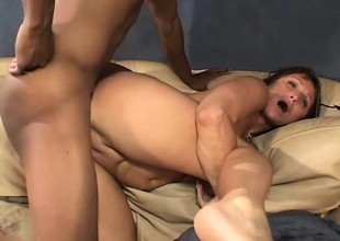 Hot mom Jillian takes this thick black knob unfathomable in every hole