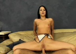 Raven haired babe gets her ass stuffed balls unfathomable on the couch