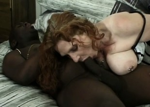 Cheating chubby whore cheats on her stud with a huge coal-black bone