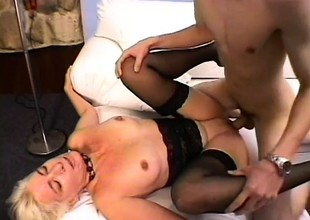 Filthy blonde MILF is desirous to please the meat of Emerson Styles