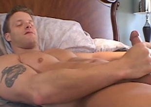 Naughty, naughty. Get a peek in to Seth Dickens' most intimate moments. Seth relaxes in the bedroom and enjoys some time to himself. He then makes a decision to strips down for us and shows us what he's got. He strokes his large cock until he shoot his saddle with all over