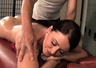 Curvy brunette Sophie Dee gets a relaxing palpate and a hard pounding