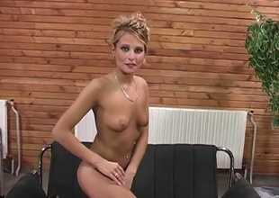 Hawt blond strip and get fuck by two studs at the same time. She takes one cock in her slit and one in her ass. And at the end she get two big loads one on her face and one on her ass !